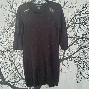 Black & Gold Bead Dress Knit Zipper 3/4 Sleeve M